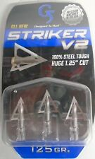 "@NEW@ 1- 3pk. G5 Striker V2 125 Broadheads! 1 1/4"" Diameter Fixed Blade 6132"