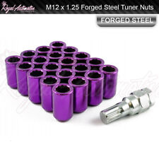 M12 x 1.25 Tuner Nuts for Alloy Wheels Slim Internal Drive Forged Steel Purple