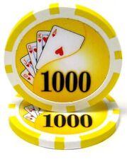 100 Yellow $1000 Yin Yang 13.5g Clay Poker Chips New - Buy 3, Get 1 Free