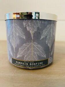 Bath & Body Works Candle Pumpkin Bonfire 3 Wick 14.5 oz New
