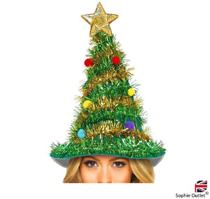 Adult Christmas Tree Hat with star Novelty Fun Xmas Office Party Fancy Dress UK