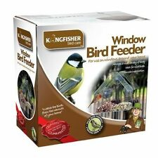 BIRD FEEDER TABLE SEED PEANUT HANGING SUCTION PERSPEX CLEAR VIEWING GLASS WINDOW