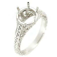 Sterling Silver Semi Mount Ring Setting Round RD 8x8mm Art Deco