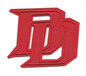 """Marvel Daredevil, The Man Without Fear """"DD"""" Die-Cut Logo Embroidered Patch, new"""