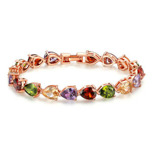 Charming Colorful Amethyst Topaz Gmestone Women Jewelry Rose Gold Bracelets