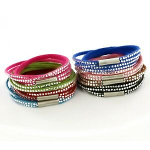 Womens Stacker Leather Beaded Bracelet, Multi Row Layer Stack Beaded Wristband