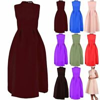 Ladies Womens Sleeveless Pleated High Polo Neck Flared Swing Skater Midi Dress