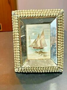 1800s Sailors Valentine Victorian Shell Art Sailing Ship Litho  Picture Frame
