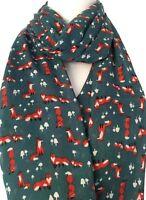 Fox Scarf Ladies Teal Foxes Wrap Gift Idea Womens Green Blue Cute Animal Shawl