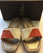 COLE HAAN Air IBIZA Slide Shoe Flat Sandal Slipper Ivory Orange NIB SZ 7 New