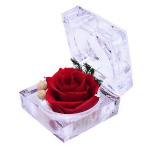 Preserved Forever Rose Eternal Flower Acrylic Crystal Box Ring Valentine's Gift