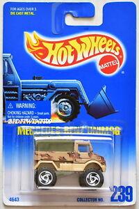 HOT WHEELS 1991 BLUE CARD MERCEDES-BENZ UNIMOG #239 W/ SAWBLADE WHEELS 04