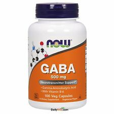 NOW Foods GABA 500 mg + B-6 100 VCap, Promotes Relaxation, FRESH, Made In USA