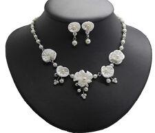 Brautschmuck ivory Schmuckset Blüten Perlen WEISE Brautkette + Ohrhänger  NEU