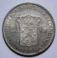 1931 Netherlands Two and Half 2 1/2 Gulden - Wilhelmina - Lot 674
