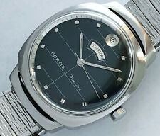30 Jewels Swiss Made Fortis Trueline automatic mens vintage watch black dial