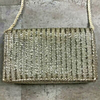 Vintage Walborg Beaded Shoulder Crossbody Bag Purse Handbag Silver White