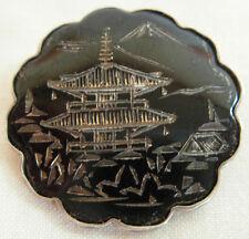 VINTAGE AMITA JAPAN STERLING SILVER BROOCH WITH BLACK ENAMEL