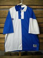 Umbro Soccer Jersey Polo Mens XL Blue White Color Block Football Team P320