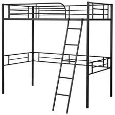 Metal Loft Twin Bed Frame Single Twin Size High Loft Bed W/ Ladder & Guard Rail