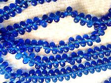 Vtg 200 COBALT BLUE GLASS BABY DROP BEADS 4 X 6 mm BEADS GLASS #011212e