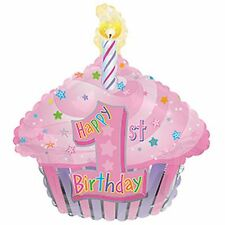 1st birthday balloon pink birthday cake cupcake shaped helium foil party balloon