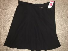"M&S Black Lined Flare Skirt Patent Belt size 18 24"" NEW RRP £25"