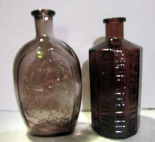 Vint 1970's lot-2 amethyst bottles - Wheaton Lancaster bitters-eagle & Liberty