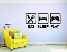 Gamer Wall Sticker Mural Decal Vinyl Decor Player Eat Sleep Video Play Game