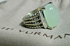 Huge David Yurman Chalcedony Diamond 16 x12mm Wheaton Ring Sterling Silver Pouch