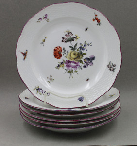 Royal Berlin Porcelain Antique Hand Painted Set/6 Dinner Plates Flowers Insects