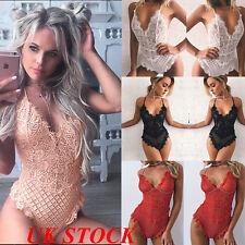 UK Womens Full Lace Lingerie Bodysuit Strappy Plunge V Neck Bodycon Leotard Tops