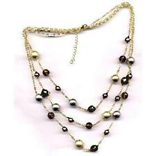 Tri Color Gold Finish Sterling Silver Smoky CZ Womens 3 Row Necklace