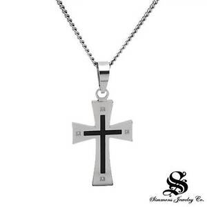 SIMMONS Cross Necklace With Genuine Diamonds in Black Enamel and Titanium 19.5""