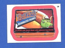 WACKY PACKAGES SERIES #9 - BULL PARTS HOT DOGS - RED-PINK BORDER - STICKER #39