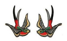 Pair MULTI COLOUR SWALLOW Sparrow BIRD Tatoo Embroidery Iron on Patch