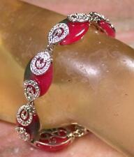 Gold Plate CHINESE Red Green JADE Teardrop Bead Beads Bangle Bracelet 284928