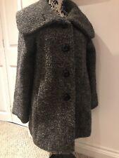 Monsoon Sz 12 Petite Boucle Wool Mohair 3/4 Length Coat Wide Lapels