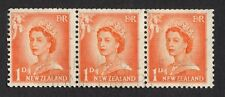 Nueva Zelanda: 1d Naranja la reina Isabel II; tira horizontal de 3; las cifras de mayor tamaño