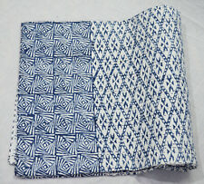 New Indian Kantha Quilt Traditional Cotton Blanket Bedding Screen Print Coverlet