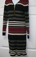Derek Heart Juniors Plus 2X Stripe long sleeve rib midi dress V-Neck and Zipper