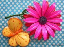 VINTAGE metal BRIGHT red HOT pink ENAMEL flower PIN yellow BUTTERFLY brooch PK-1
