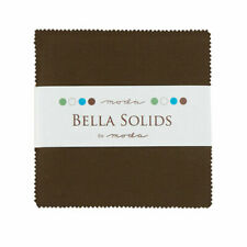 Moda Fabric Bella Solids Charm Pack Brown - Patchwork Quilting 5 Inch Squares