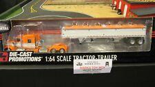 DCP#32393 ORANGE WHITE KW W900 SEMI CAB TRUCK & WILSON GRAIN TRAILER 1:64/CL