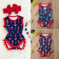 Newborn Baby Toddler Girl 4th of July Romper Bodysuit Jumpsuit Clothes Outfits