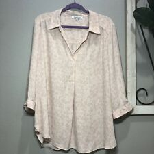 Plus Size 2X Rose & Olive Blush Pink Animal Print Top 3/4 Sleeves