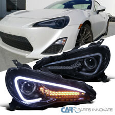 Glossy Black For 12-17 Scion FR-S 86 Projector Headlights w/ LED Strip & Signal