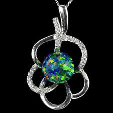 Alducchi Black Rainbow lab Fire Opal-CZ 925 Sterling Silver pendant necklace #6