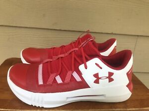 Under Armour Block City 2.0 Women's Volleyball Shoes Red White 3021377 Sz 13