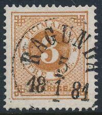 Sweden Scott 28/Facit 28e, 3ö brown Ringtyp perf 13, VF U RAGUNDA cancel, PR/LYX